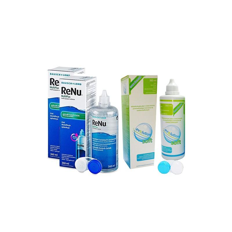 Zestaw - płyn ReNu Multiplus 2 x 360 ml + płyn evo2lution soft 360 ml za grosz
