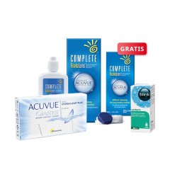 ACUVUE OASYS 6 szt. + płyn Complete RevitaLens 120 ml + krople Blink Contacts + płyn Complete 60 ml GRATIS