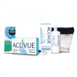 Acuvue Oasys with Transitions 6 szt. + Blink Contacts 10 ml + Acuvue RevitaLens 60 ml + kosmetyczka